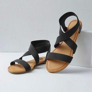 Shoes - Black Wide Ankle Elastic Strap Sandal